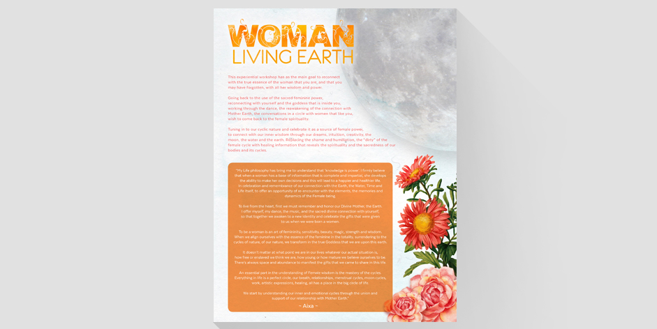 Woman Living Earth Workshop Flyer