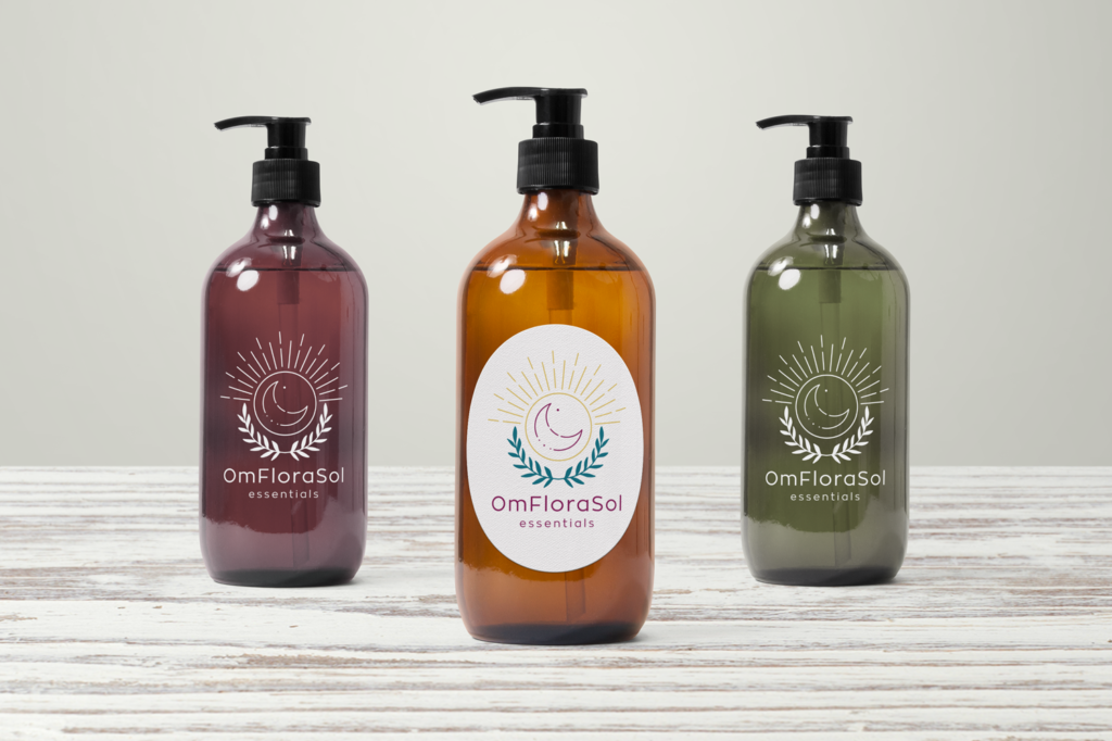 OmFloraSol Dispenser Bottles with label